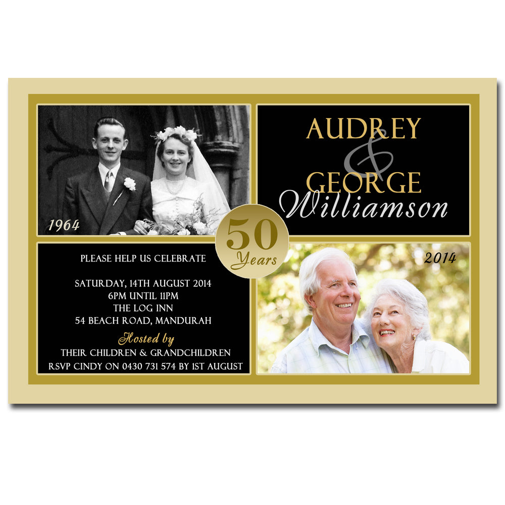 Audrey & George - 50th Gold Wedding Anniversary Invitation