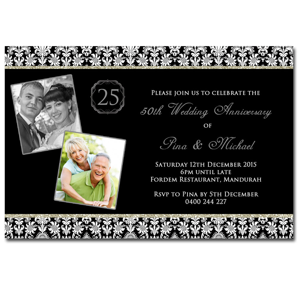 Pina & Michael - 25th 50th 60th Wedding Anniversary Invitation