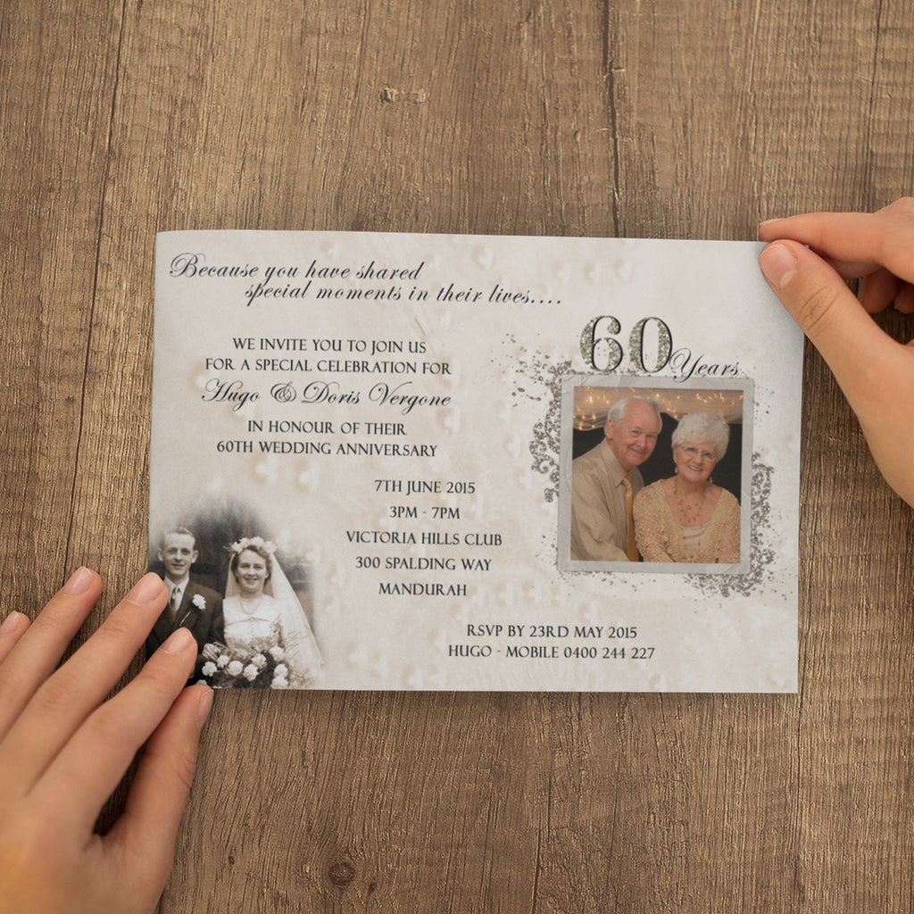 Doris & Hugo - 60th Diamond Wedding Anniversary Invitation
