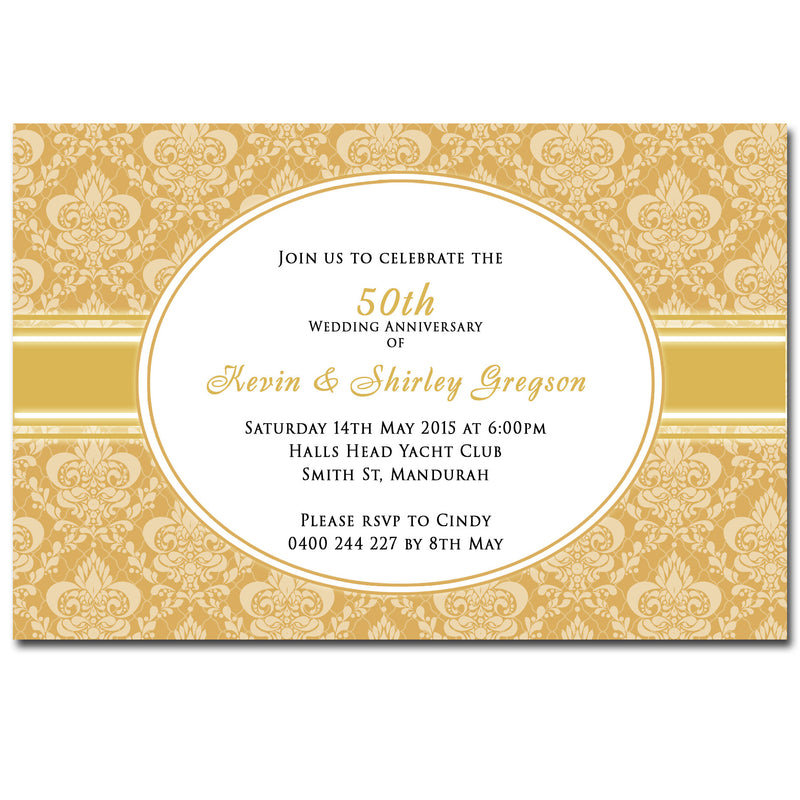 Shirley & Kevin - 25th 50th Damask Wedding Anniversary Invitation