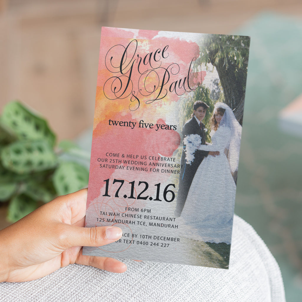 Grace & Paul - 25th Wedding Anniversary Invitation