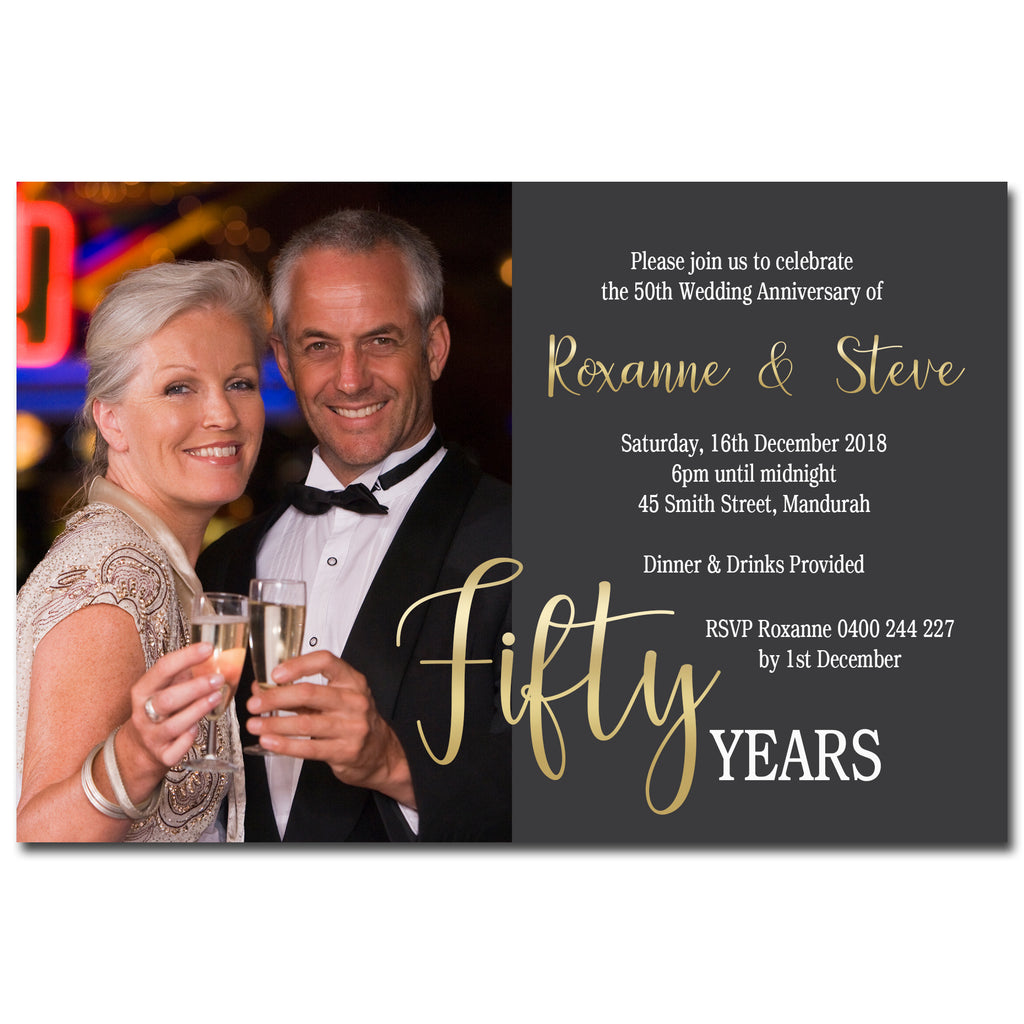 Roxanne & Steve - 50th Gold Wedding Anniversary Invitation