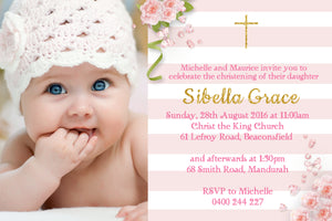 Sibella - Baptism/Chistening Invitation with Photo
