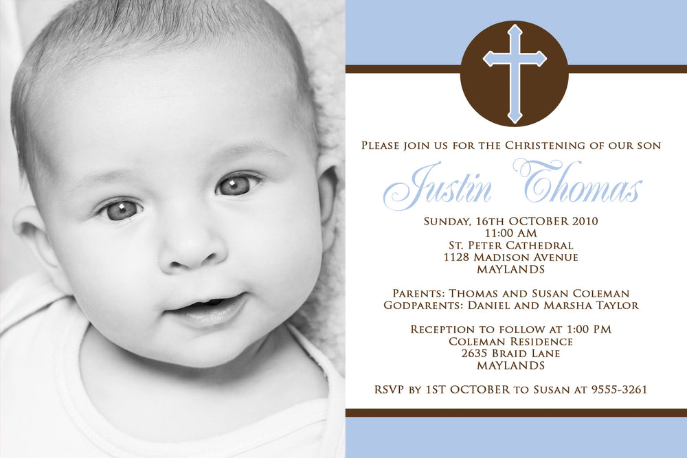Justin - Baptism/Chistening Invitation with Photo