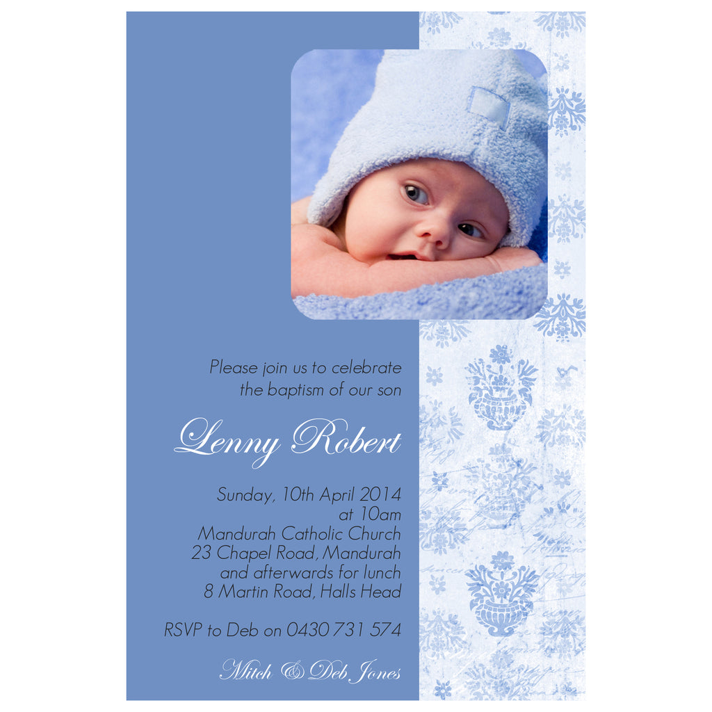 Lenny - Baptism/Chistening Invitation with Photo