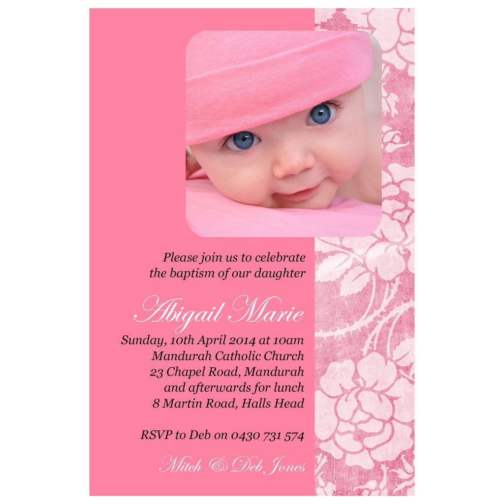 Abigail - Baptism/Chistening Invitation with Photo