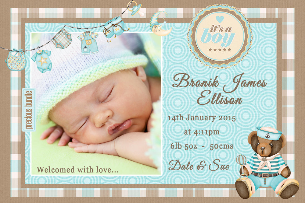 Bronik - Baby Boy Birth Announcement