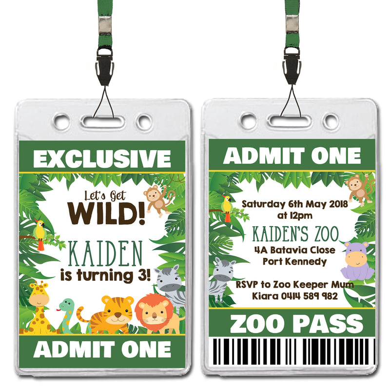 Kaiden - Jungle Animal Safari VIP Lanyard Birthday Invitation