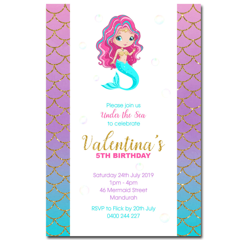 Valentina - Mermaid Birthday Invitation