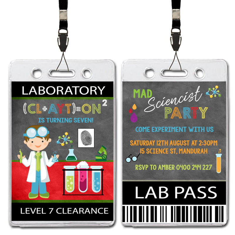 Clayton - Mad Scientist VIP Lanyard Birthday Invitation