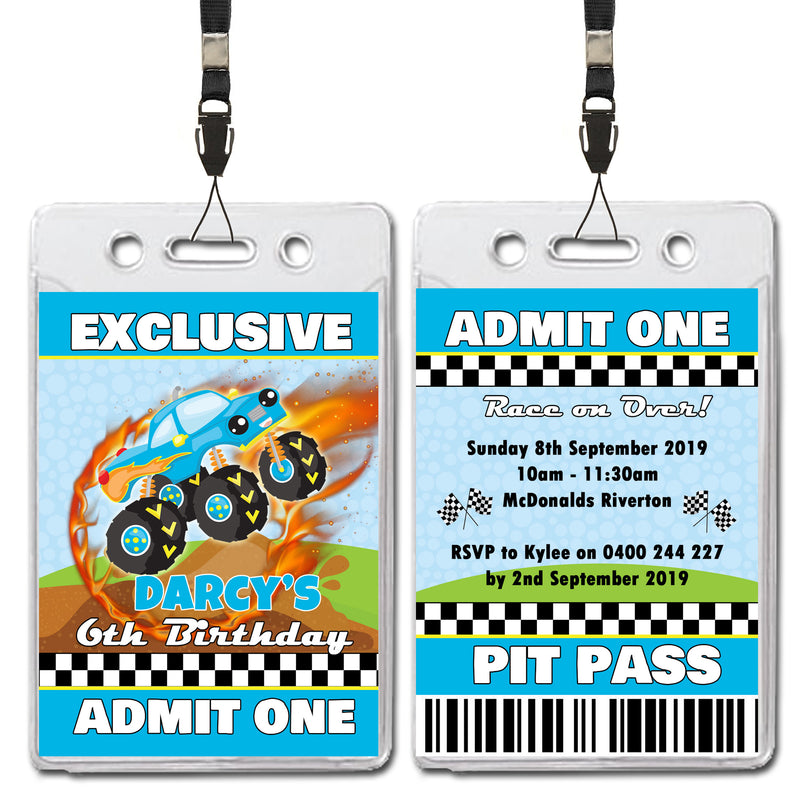 Darcy - Monster Trucks VIP Lanyard Birthday Invitation
