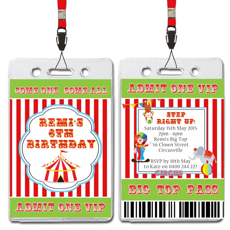 Remi - Circus Themed VIP Lanyard Birthday Invitation
