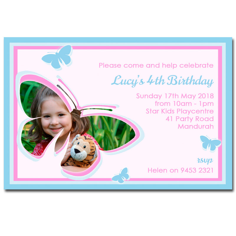 Lucy - Butterfly Birthday Invitation with Photo