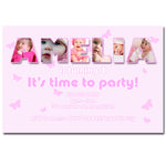 Amelia - Name Photo Collage Birthday Invitation
