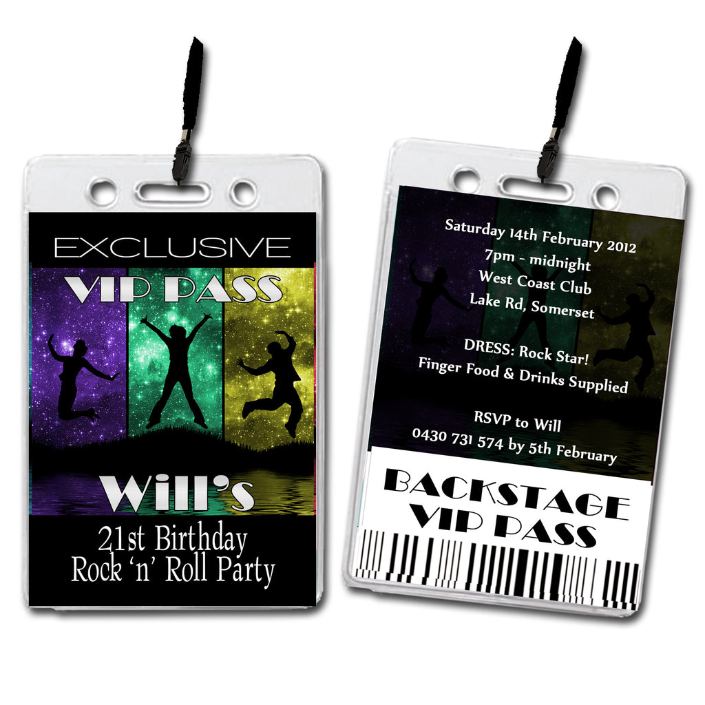Will - Rock & Roll VIP Lanyard Birthday Invitation