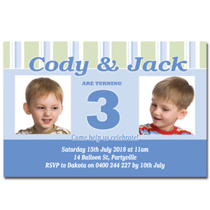 Twin Boy Birthday Invitation with Photos