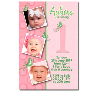 Aubree - Butterfly Birthday Invitation with Photos