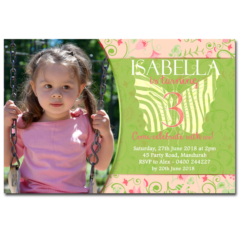 Isabella - Butterfly Birthday Invitation with Photo
