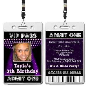 Tayla - Disco VIP Lanyard Birthday Invitation with Photo