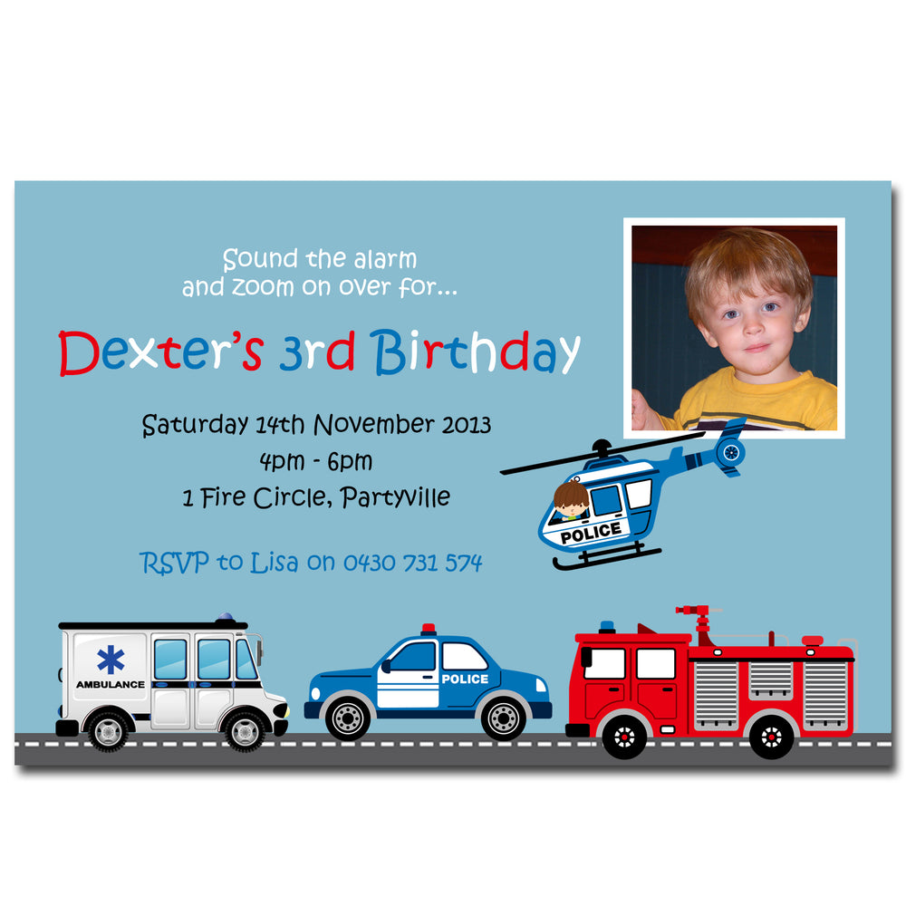 Dexter - Fire Rescue Themed Birthday Invitation with Photo