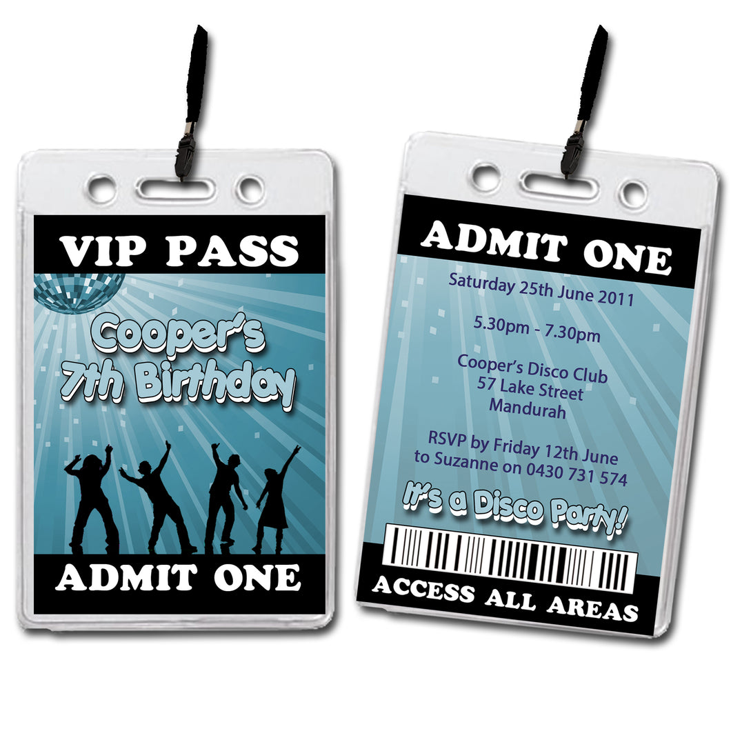 Cooper - Disco VIP Lanyard Birthday Invitation
