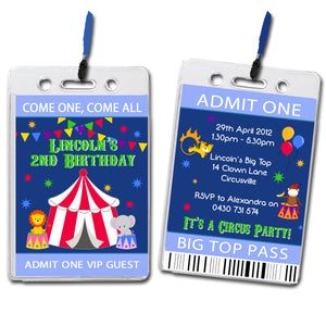 Lincoln - Circus Themed VIP Lanyard Birthday Invitation