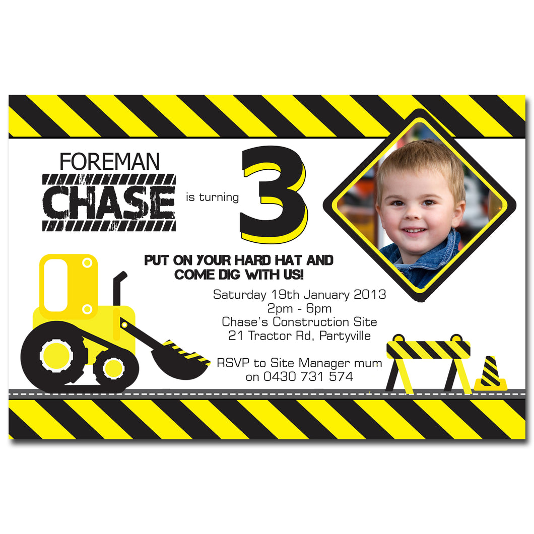 Chase - Construction Themed Birthday Invitation with Photo
