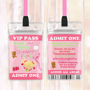 Bridget - Slumber Sleepover VIP Lanyard Birthday Invitation