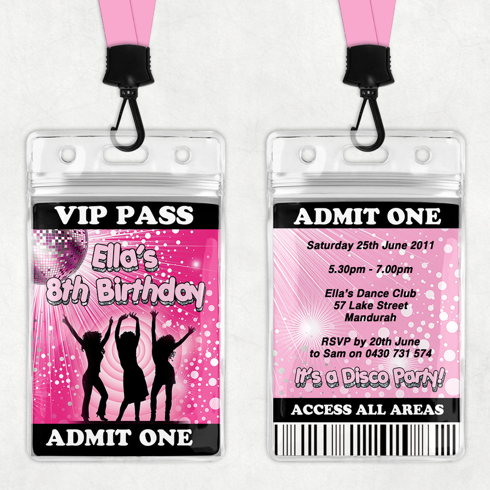 Ella - Disco Dance VIP Lanyard Birthday Invitation