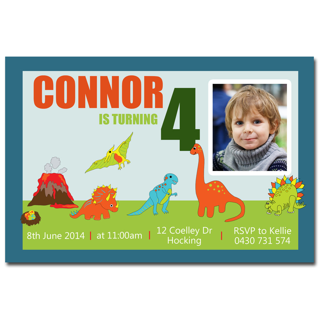 Connor - Dinosaur Birthday Invitation with Photo