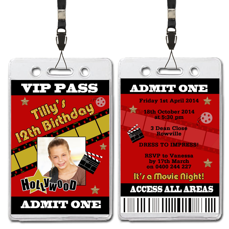 Tilly - Filmstrip Themed VIP Lanyard Birthday Invitation with Photo