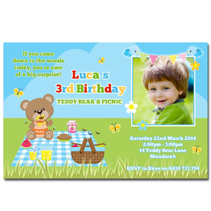 Luca - Teddy Bear Picnic Birthday Invitation with Photo