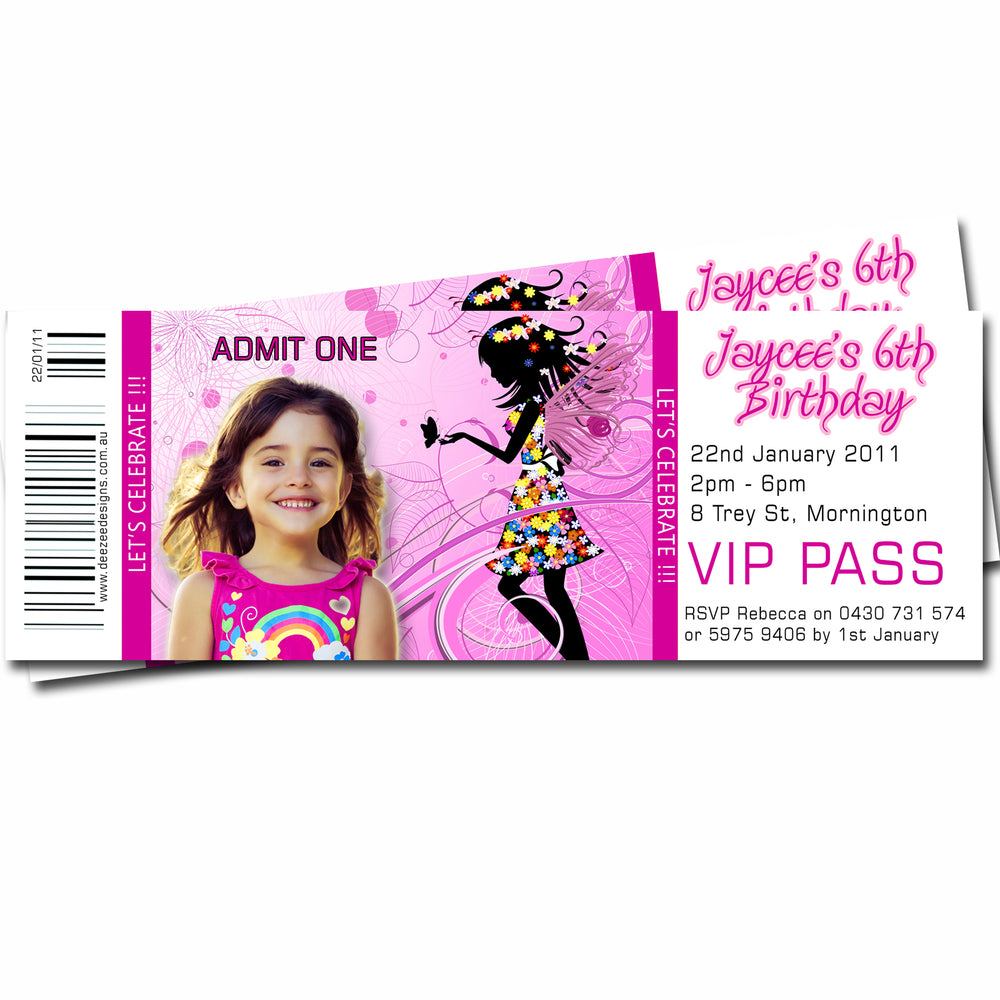 Jaycee - Fairy Themed Ticket Style Invitation with Photo