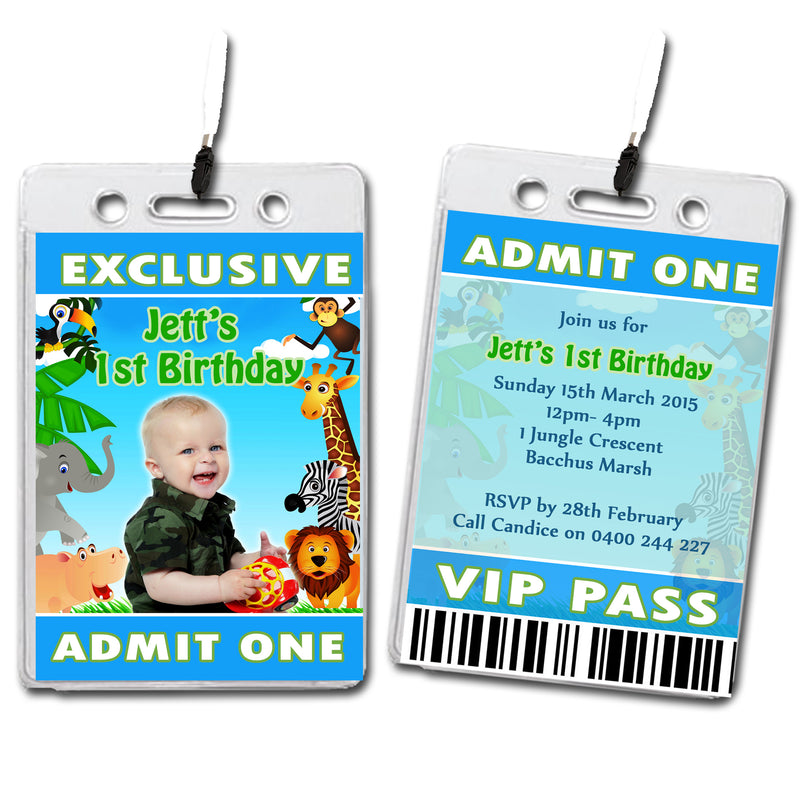 Jett - Jungle Animal VIP Lanyard Birthday Invitation with Photo