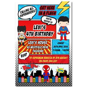 Levi - Superhero Comic Strip Birthday Invitation