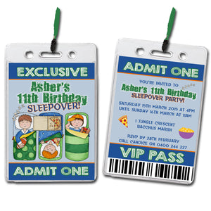 Asher - Sleepover VIP Lanyard Birthday Invitation