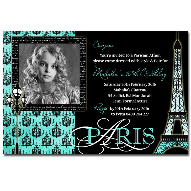 Mahalia - Paris Themed Birthday Invitation with Photo