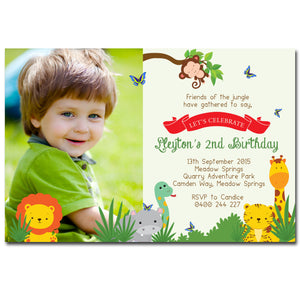 Lleyton - Animal Safari Birthday Invitation with Photo