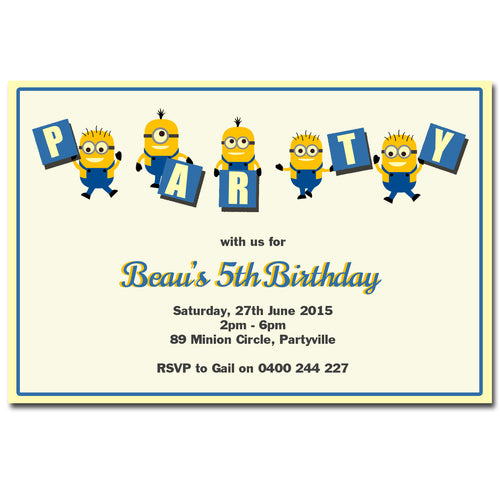 Beau - Minions Birthday Invitation