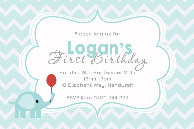 Logan - Elephant Birthday Invitation