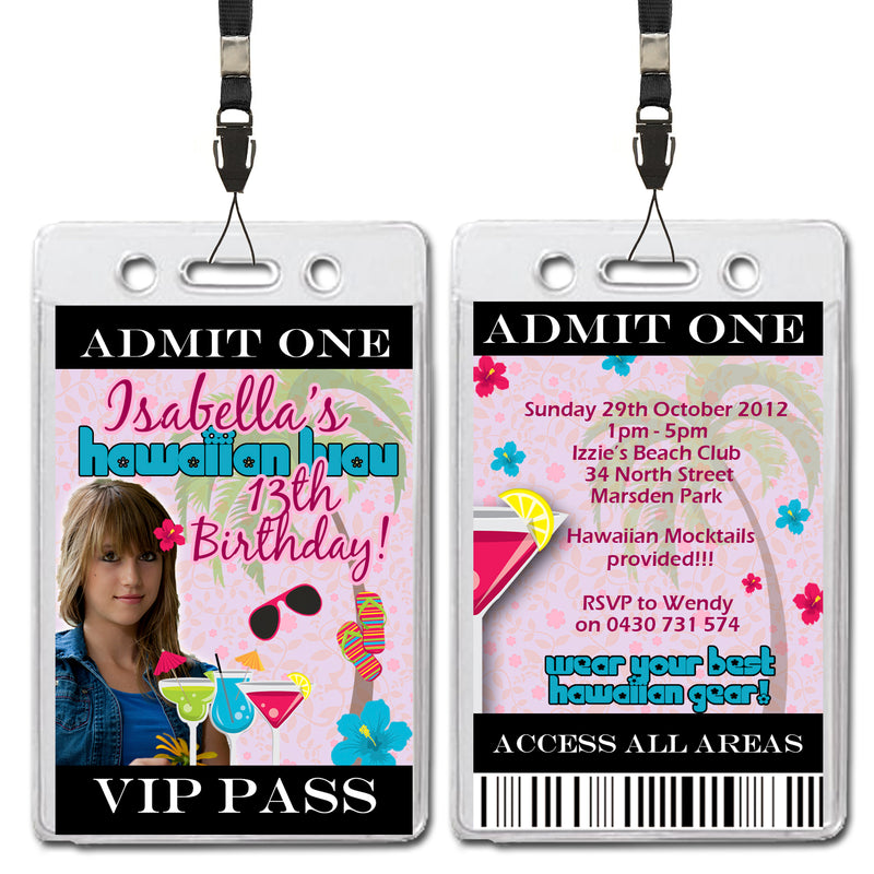 Isabella - Hawaiian Luau VIP Lanyard Birthday Invitation