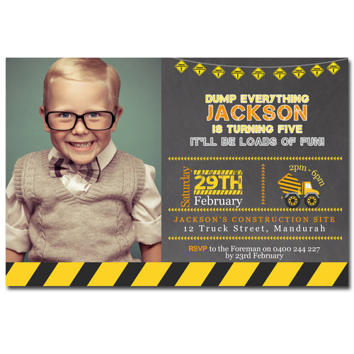 Jackson - Construction Birthday Invitation with Photo