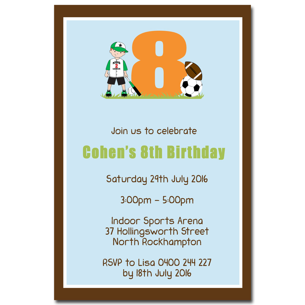Cohen - Sports Themed Birthday Invitation