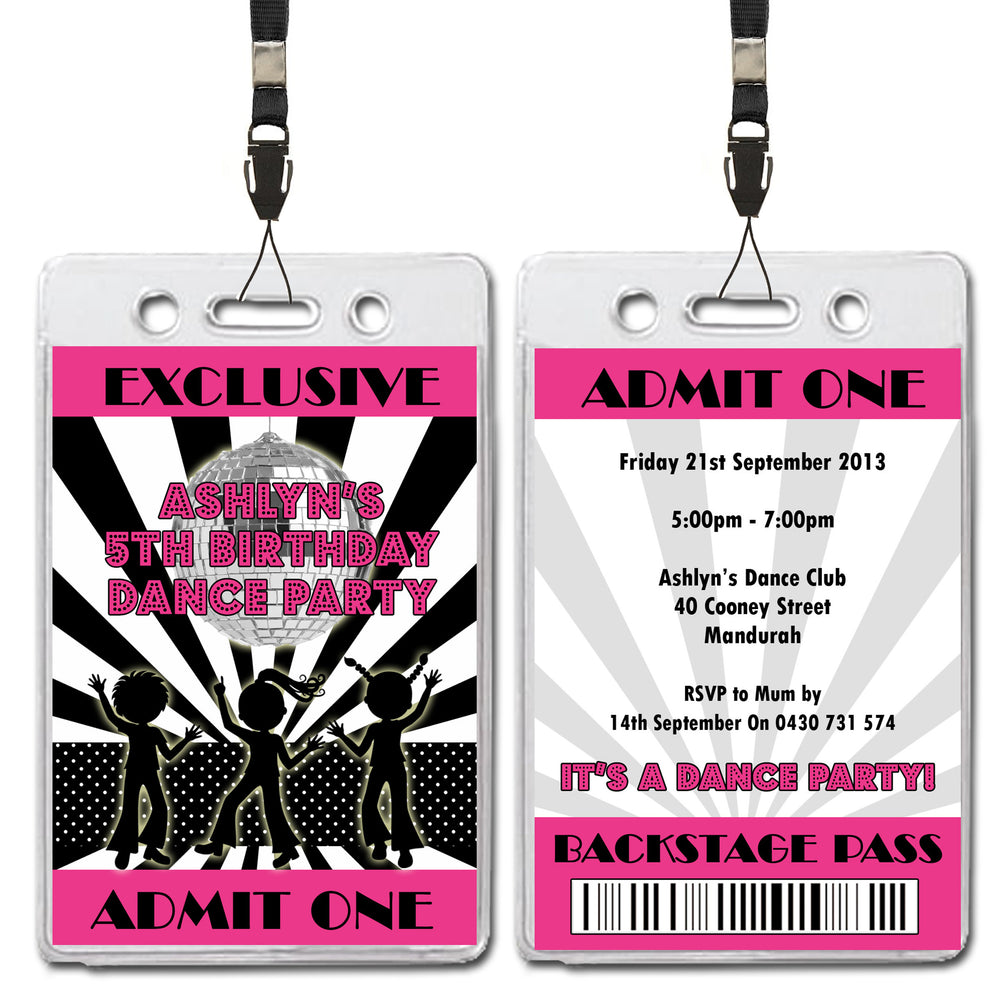 Ashlyn - Disco Dance VIP Lanyard Birthday Invitation