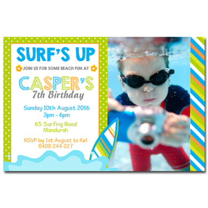 Casper - Surf Beach Birthday Invitation with Photo