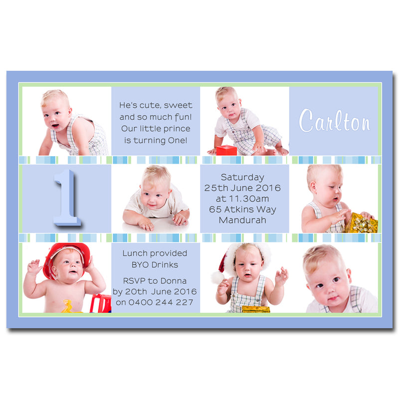 Carlton - Photo Collage Birthday Invitation