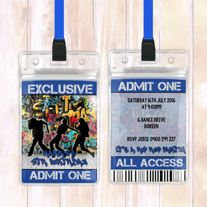 Harry - Hip Hop VIP Lanyard Birthday Invitation