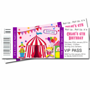 Chloe - Circus Themed Ticket Style Invitation