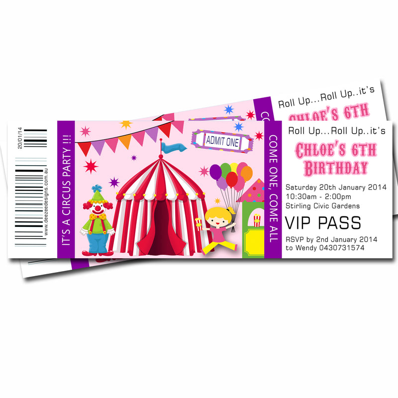 Chloe - Circus Carnival Themed Ticket Style Invitation