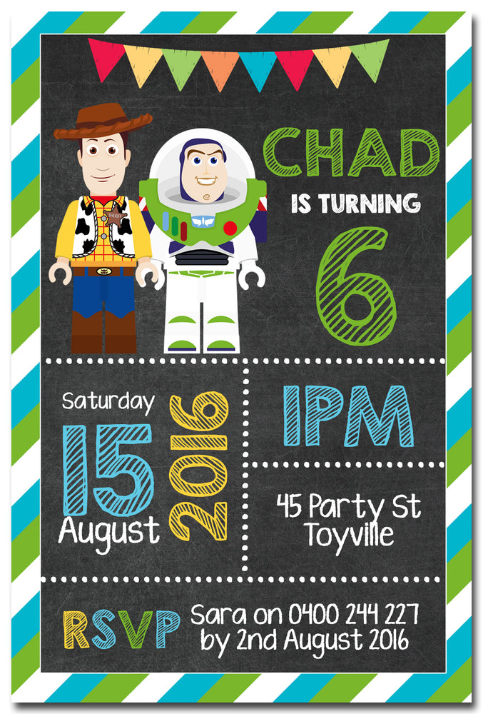 Chad - Toy Story Chalkboard Birthday Invitation